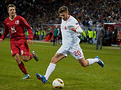 KAZAN, RUSSIA - Thursday, November 5, 2015: Liverpool's Adam Lallana in action against Rubin Kazan during the UEFA Europa League Group Stage Group B match at the Kazan Arena. (Pic by Oleg Nikishin/Propaganda)