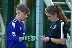 WREXHAM, WALES - Monday, July 22, 2019: North goalkeeper Jay Jay Bell with goalkeeping coach xxxx during the Welsh Football Trust Cymru Cup 2019 at Colliers Park. (Pic by Paul Greenwood/Propaganda)