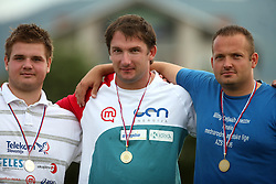 Tomaz Bogovic, Primoz Kozmus and Kristjan Korosec at medal ceremony at Athletic National Championship of Slovenia, on July 19, 2008, in Stadium Poljane, Maribor, Slovenia. (Photo by Vid Ponikvar / Sportal Images).