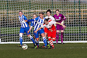 Brighton's Danielle Carlton defends during the FA Women's Premier League Cup quarter-final match between Brighton Ladies and Charlton Athletic WFC at The American Express Elite Football Performance Centre, Lancing, United Kingdom on 1 March 2015. Photo by Geoff Penn.
