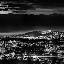 I have taken this panorama in a cold but very beautiful night over Trondheim. 4 pictures have been stiched, thE moon obn the top made a very dramatic atmosphere.. I like this photo in Black and white because of the textures.
