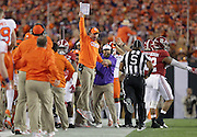 Clemson Tigers head coach Dabo Swinney argues for a late hit on Alabama in the first half of the National Championship game at Raymond James Stadium in Tampa, Monday, January 9, 2017.