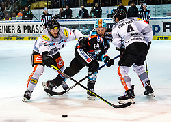 21.02.2020, Keine Sorgen Eisarena, Linz, AUT, EBEL, EHC Liwest Black Wings Linz vs Dornbirn Bulldogs, Zwischenrunde, 7. Qualifikationsrunde, im Bild v.l. Olivier Magnan (Dornbirn Bulldogs), Dragan Umicevic (EHC Liwest Black Wings Linz), Charles Robin Gartner (Dornbirn Bulldogs) // during the Erste Bank Eishockey League Intermediate round, 7th qualifying round match between EHC Liwest Black Wings Linz and Dornbirn Bulldogs at the Keine Sorgen Eisarena in Linz, Austria on 2020/02/21. EXPA Pictures © 2020, PhotoCredit: EXPA/ Reinhard Eisenbauer