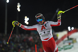 "29.01.2019, Planai, Schladming, AUT, FIS Weltcup Ski Alpin, Slalom, Herren, 1. Lauf, im Bild Manuel Feller (AUT) // Manuel Feller of Austria DNF his 1st run of men's Slalom ""the Nightrace"" of FIS ski alpine world cup at the Planai in Schladming, Austria on 2019/01/29. EXPA Pictures © 2019, PhotoCredit: EXPA/ Erich Spiess"