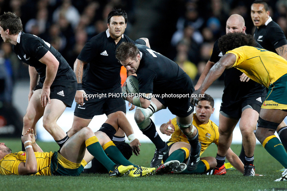 Richie McCaw in action during the Rugby Championship and Bledisloe Cup Rugby Union test match, New Zealand All Blacks versus Australian Wallabies at Eden Park, Auckland, New Zealand. Saturday 25 August 2012.  Photo: Wayne Drought/Photosport.co.nz