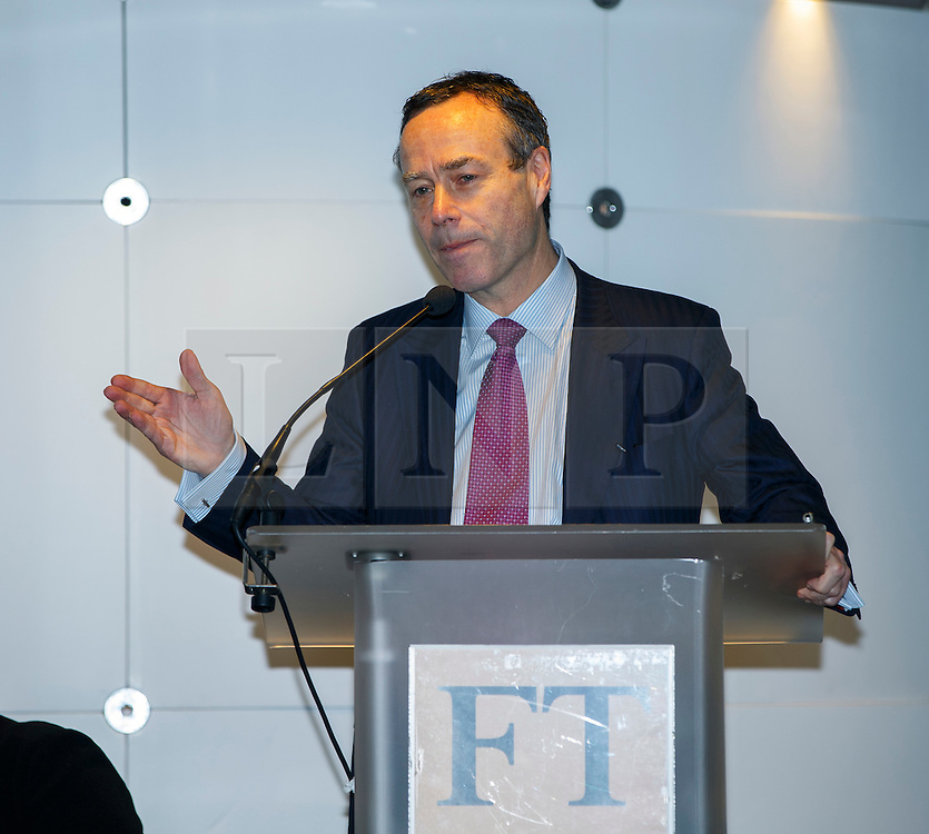 © Licensed to London News Pictures. 19/01/2015. LONDON, UK. Lionel Barber, editor of Financial Times speaks at UK launch of the Commission on Inclusive Prosperity's report at Financial Times HQ in London. Photo credit : Tolga Akmen/LNP