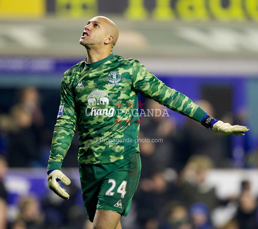 LIVERPOOL, ENGLAND - Tuesday, January 31, 2012: Everton's goalkeeper Tim Howard celebrates his side's 1-0 win over Manchester City after the Premiership match at Goodison Park. (Pic by Vegard Grott/Propaganda)