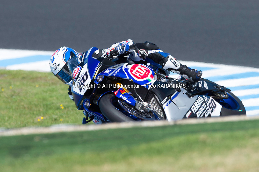 Sylvain Guintoli (FRA) of PATA Yamaha Official WSBK Team riding a Yamaha YZF R1 in action during race 2 of the first round of the 2016 Superbike World Championship at Phillip Island, Australia.  - fee liable image; photo copyright &copy; ATP  Theo KARANIKOS<br /> <br /> Superbike Weltmeisterschaft in Phillip Island AUSTRALIEN - Saisonstart  2016 - Motorrad - Motorradrennen - Motorradsport - WSBK -