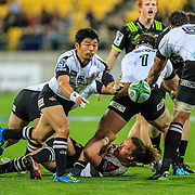 Fumiaka Tanaka passes during the Super Rugby union game between Hurricanes and Sunwolves, played at Westpac Stadium, Wellington, New Zealand on 27 April 2018.   Hurricanes won 43-15.