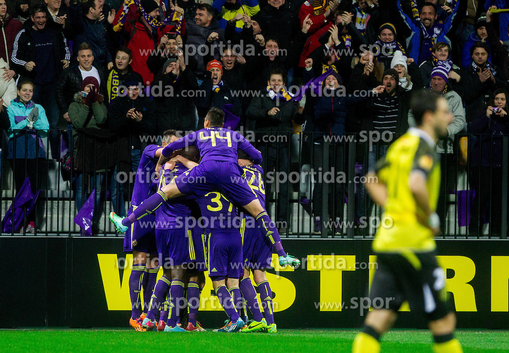 Players of Maribor celebrate after 1st goal during football match between NK Maribor and Sevilla FC (ESP) in 1st Leg of Round of 32 of UEFA Europa League 2014 on February 20, 2014 at Stadium Ljudski vrt, Maribor, Slovenia. Photo by Vid Ponikvar / Sportida