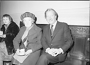 Sean Lemass 9th Anniversary Memorial Mass..1980-05-11.11th May 1980.11-05-1980.05-11-80..Photographed at the Carmelite Priory Whitefriar Street...Kathleen Lemasss, widow of former Taoiseach  Sean Lemass with her son in law An Taoiseach Charles Haughey TD..
