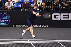 October 4, 2018 - St. Louis, Missouri, U.S - JIM COURIER with the backhand return during the Invest Series True Champions Classic on Thursday, October 4, 2018, held at The Chaifetz Arena in St. Louis, MO (Photo credit Richard Ulreich / ZUMA Press) (Credit Image: © Richard Ulreich/ZUMA Wire)