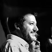 Torino, 27 aprile 2019: Matteo Salvini al termine del comizio elettorale in piazza Carlo Alberto.