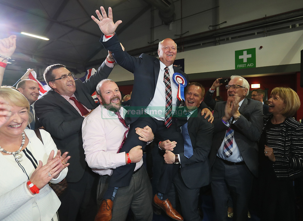 DUP candidate for Upper Bann David Simpson celebrates election at the Eikon Exhibition Centre in Lisburn as counting is under way for the General Election.