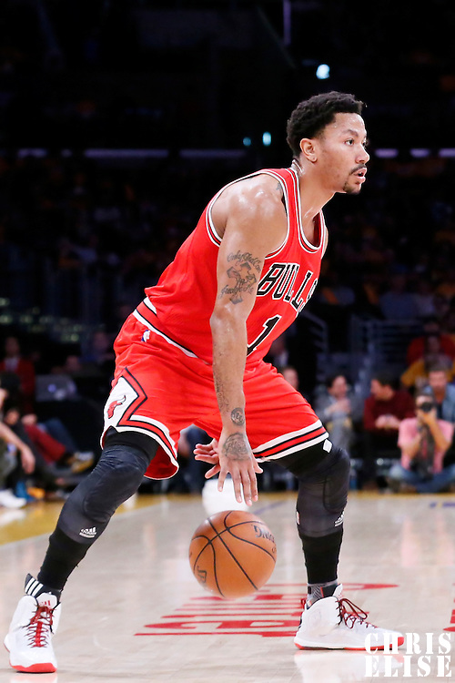 29 January 2015: Chicago Bulls guard Derrick Rose (1) dribbles during the Los Angeles Lakers 123-118 2OT victory over the Chicago Bulls, at the Staples Center, Los Angeles, California, USA.