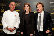 NOBU MATSUHISA;; PRINCESS BEATRICE; DAVE CLARK; ;; The Tomodachi ( Friends) Charity Dinner hosted by Chef Nobu Matsuhisa in aid of the Unicef  Japanese Tsunami Appeal. Nobu Berkeley St. London. 5 May 2011. <br /> <br />  , -DO NOT ARCHIVE-© Copyright Photograph by Dafydd Jones. 248 Clapham Rd. London SW9 0PZ. Tel 0207 820 0771. www.dafjones.com.