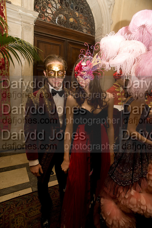 ALESSANDRO  Bortolotto Possati; OLIMPIA BORTOLOTTO POSSATI. Alessandro and Olimpia host Carnevale 2009. Venetian Red Passion. Palazzo Mocenigo. Venice. February 14 2009.  *** Local Caption *** -DO NOT ARCHIVE -Copyright Photograph by Dafydd Jones. 248 Clapham Rd. London SW9 0PZ. Tel 0207 820 0771. www.dafjones.com<br /> ALESSANDRO  Bortolotto Possati; OLIMPIA BORTOLOTTO POSSATI. Alessandro and Olimpia host Carnevale 2009. Venetian Red Passion. Palazzo Mocenigo. Venice. February 14 2009.