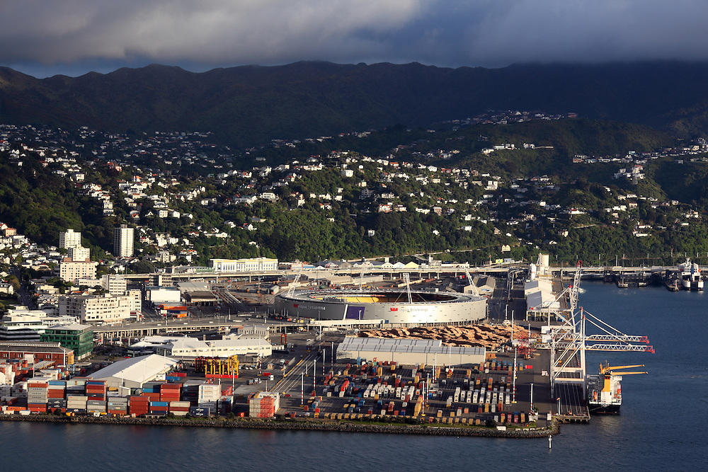 View of Wellington port and Westpac Stadium from Mount Victoria.