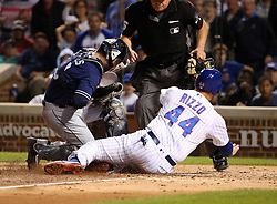 June 19, 2017 - Chicago, IL, USA - Chicago Cubs first baseman Anthony Rizzo (44) is tagged out at home by San Diego Padres catcher Austin Hedges (18) during the sixth inning of their game on June 19, 2017 at Wrigley Field in Chicago. The MLB will decide whether to discipline Rizzo for the collision. (Credit Image: © Nuccio Dinuzzo/TNS via ZUMA Wire)