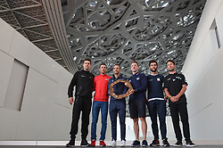 February 23, 2019 - Abu Dhabi, United Arab Emirates - (Left-Right) Tom Dumoulin of The Netherlands and Team Sunweb, Vincenzo Nibali of Italy and Team Bahrain-Merida, Alejandro Valverde Belmonte of Spain and Movistar Team, Elia Viviani of Italy and Team Deceuninck-QuickStep, Fernando Gaviria of Colombia and UAE Team Emirates, Mark Cavendish of Great Britain and Team Dimension Data, during Top Riders Photo session inside the Louvre Abu Dhabi Museum..On Saturday, February 23, 2019, Abu Dhabi, United Arab Emirates. (Credit Image: © Artur Widak/NurPhoto via ZUMA Press)