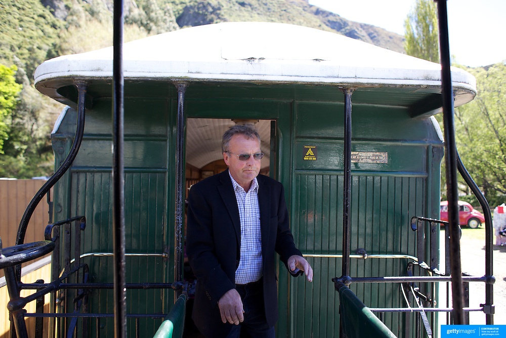 Owner David Bryce with the Kingston Flyer vintage steam train at Saturday's relaunch of the historic locomotives at Fairlight near Queenstown, Central Otago, New Zealand, 29th October 2011. Photo Tim Clayton...