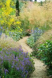 Path through borders of grasses and perennials at Broughton Grange