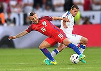 2016.06.20 Saint-Etienne<br /> Pilka nozna Euro 2016<br /> mecz grupy C Slowacja - Anglia<br /> N/z Jack Wilshere Viktor Pecovsky<br /> Foto Lukasz Laskowski / PressFocus<br /> <br /> 2016.06.20 Saint-Etienne<br /> Football UEFA Euro 2016 group C game between Slovaki and England<br /> Jack Wilshere Viktor Pecovsky<br /> Credit: Lukasz Laskowski / PressFocus