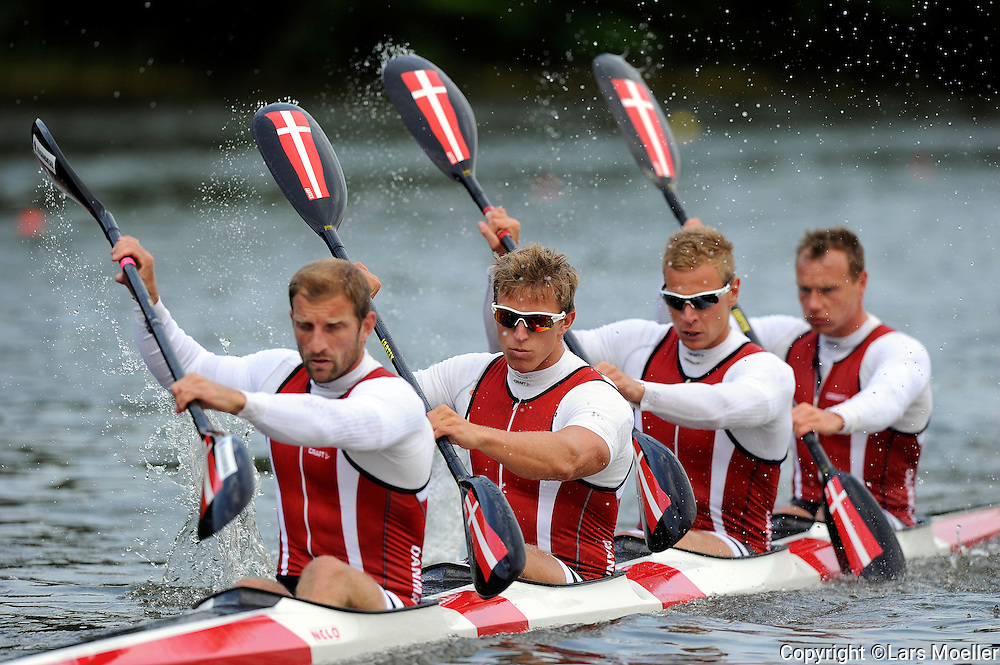 Bagsværd, Denmark, 20120607:.Cayak, Men K4, Kim Wraae, Rene Holten Poulsen, Emil Stær, Kasper Bleibach at the Danish elite training center in Bagsværd..Photo: Lars Moeller