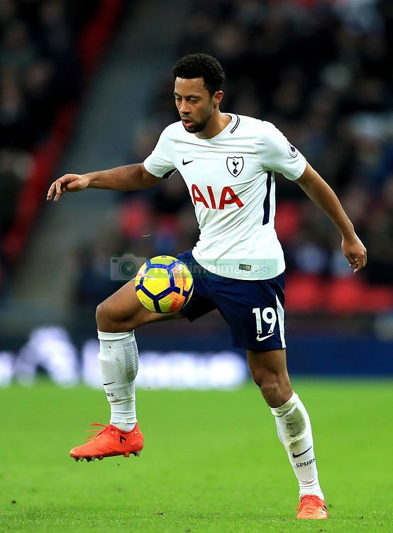 "Tottenham Hotspur's Mousa Dembele during the Premier League match at Wembley Stadium, London. PRESS ASSOCIATION Photo. Picture date: Saturday December 9, 2017. See PA story SOCCER Tottenham. Photo credit should read: Adam Davy/PA Wire. RESTRICTIONS: EDITORIAL USE ONLY No use with unauthorised audio, video, data, fixture lists, club/league logos or ""live"" services. Online in-match use limited to 75 images, no video emulation. No use in betting, games or single club/league/player publications."