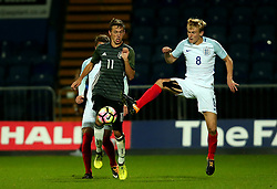 Flynn Downes of England beats Benjamin Goller of Germany Under 19s - Mandatory by-line: Robbie Stephenson/JMP - 05/09/2017 - FOOTBALL - One Call Stadium - Mansfield, United Kingdom - England U19 v Germany U19 - International Friendly