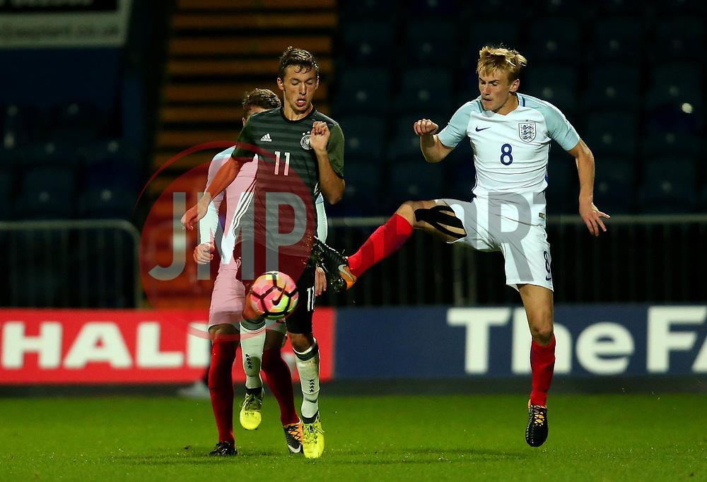 Flynn Downes of England beats Benjamin Goller of Germany Under 19s - Mandatory by-line: Robbie Stephenson/JMP - 05/09/2017 - FOOTBALL - One Call Stadium - Mansfield, United Kingdom - England U19 v Germany U19 - International Friendly