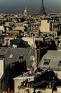 France. Paris. elevated view.Paris roofs  The invalides and the quartier latin. view from the church bell tower  Saint Severin, Saint Nicolas