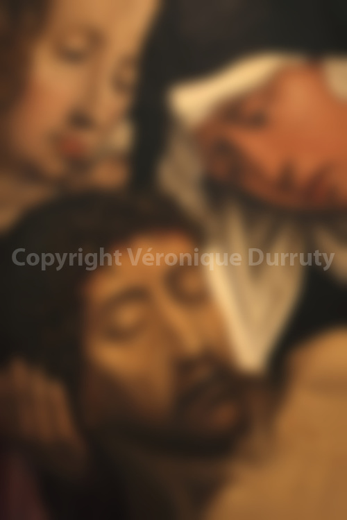 DEAD CHRIST. DETAIL OF A RELIGIOUS PAINTING, BONNEFANTEN MUSEUM, MAASTRICHT, NETHERLANDS