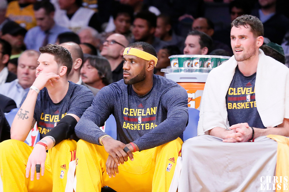 15 January 2015: Cleveland Cavaliers guard Mike Miller (18), Cleveland Cavaliers forward LeBron James (23) and Cleveland Cavaliers forward Kevin Love (0), are seen on the bench during the Cleveland Cavaliers 109-102 victory over the Los Angeles Lakers, at the Staples Center, Los Angeles, California, USA.