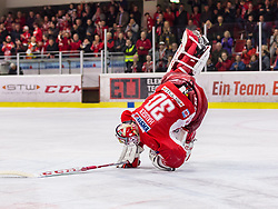 16.04.2019, Stadthalle, Klagenfurt, AUT, EBEL, EC KAC vs Vienna Capitals, Finale, 2. Spiel, im Bild Lars HAUGEN (EC KAC, #30) // during the Erste Bank Icehockey 2nd final match between EC KAC and Vienna Capitals at the Stadthalle in Klagenfurt, Austria on 2019/04/16. EXPA Pictures © 2019, PhotoCredit: EXPA/ Gert Steinthaler