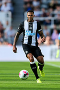 Jamaal Lascelles (#6) of Newcastle United on the ball during the Premier League match between Newcastle United and Watford at St. James's Park, Newcastle, England on 31 August 2019.
