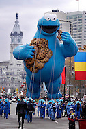 PHILADELPHIA - NOVEMBER 24:  A Cookie Monster balloon is pulled along the Benjamin Franklin Parkway during Philadelphia's 86th Annual Thanksgiving Day Parade November 24, 2005 in Philadelphia, Pennsylvania. The Philadelphia parade is the oldest in the United States. (Photo by William Thomas Cain/Getty Images)