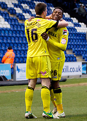 COLCHESTER, ENGLAND - Saturday, February 23, 2013: Tranmere Rovers' Cole Stockton celebrates scoring the fourth goal against Colchester United with team-mate Jean-Louis Akpa Akpro during the Football League One match at the Colchester Community Stadium. (Pic by Vegard Grott/Propaganda)