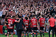 February 18, 2017:  Western Sydney Wanders celebrate the win at Round 20 of the 2016 Hyundai A-League match, between Western Sydney Wanderers and Sydney FC, played at ANZ Stadium in Sydney.