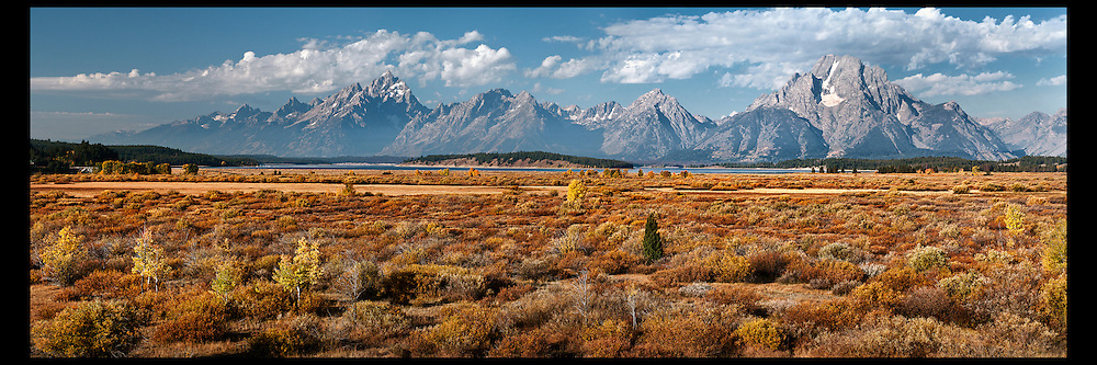 A vista view of the Grand Teton Mountain Range including Mount Moran in Grand Teton National Park.
