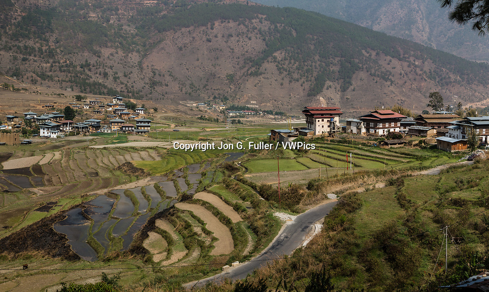 The village of Sopsokha in the Punakha-Wangdue valley in Bhutan.