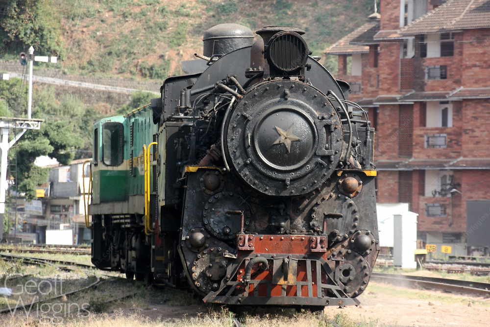 Indian steam locomotive at Conoor, India, part of the Nilgiri Mountain Railway, a World Heritage Site.