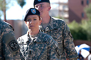 Participants from the U.S. Army march in the Veterans Day Parade, which honors American military veterans, in Tucson, Arizona, USA.