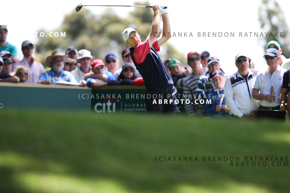 20 November 2011 : Jim Furyk drives in front of a large galleryduring the fifth-round Sunday Final round single ball matches at the Presidents Cup at the Royal Melbourne Golf Club in Melbourne, Australia. .