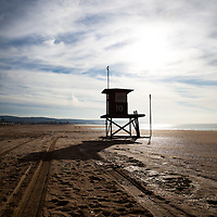 Photo of Southern California lifeguard tower number 10 in Newport Beach on Balboa Peninsula. Newport Beach is a beach community along the Pacific Ocean in Orange County California.