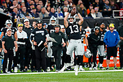 Hunter Renfrow (WR) of the Oakland Raiders  catches the ball during the International Series match between Oakland Raiders and Chicago Bears at Tottenham Hotspur Stadium, London, United Kingdom on 6 October 2019.