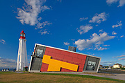 Pointe-Au-Père lighthouse and visitor centre. It is the second tallest in Canada. Site historique maritime de la Pointe-au-Pere.<br />