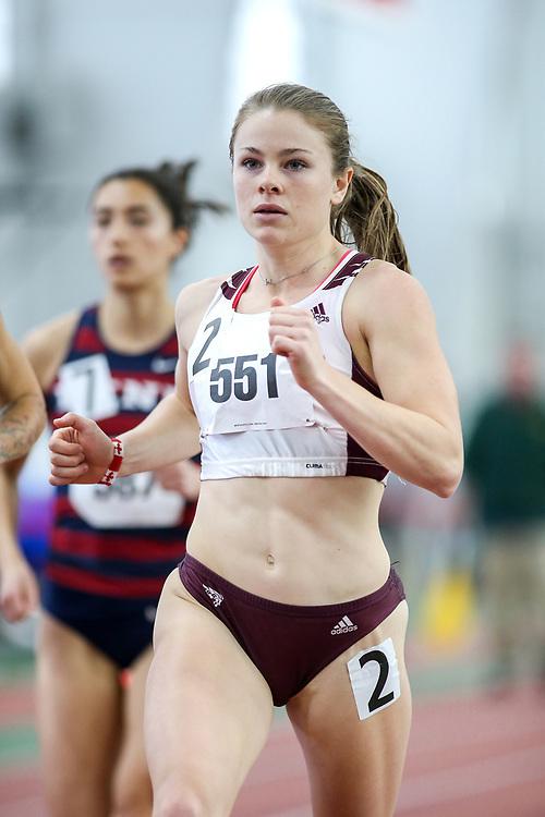 womens 1000 meters, heat 1, Ottawa, Clarke<br /> Boston University Scarlet and White<br /> Indoor Track & Field, Bruce LeHane
