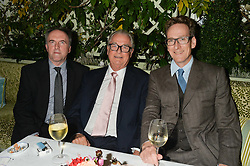 Left to right, DAVID HOPPER, LORD BELL and CHARLES VALLANCE Chairman of VCCP at a party to celebrate the publication of Right or Wrong: The Memoirs of Lord Bell held at Mark's Club, Charles Street, London on 16th October 2014.