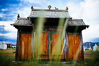 A wooden gate at a small temple complex in Murun, Mongolia.